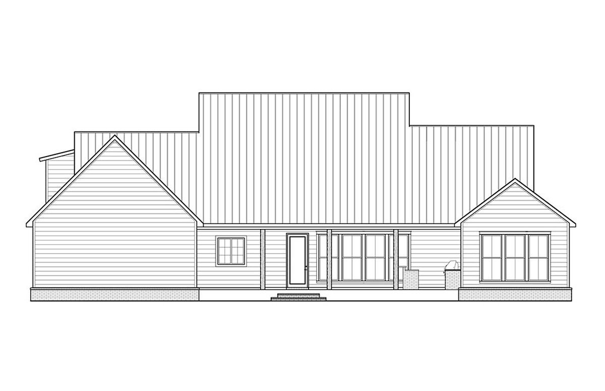 Country, Farmhouse, Traditional House Plan 41400 with 3 Beds, 3 Baths, 2 Car Garage Rear Elevation