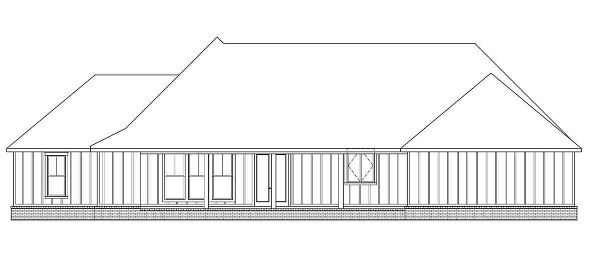 Country Farmhouse Traditional Rear Elevation of Plan 41402