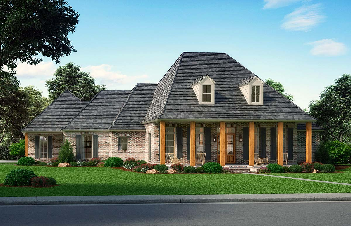 Acadian, European, Traditional House Plan 41403 with 4 Beds, 3 Baths, 3 Car Garage Elevation