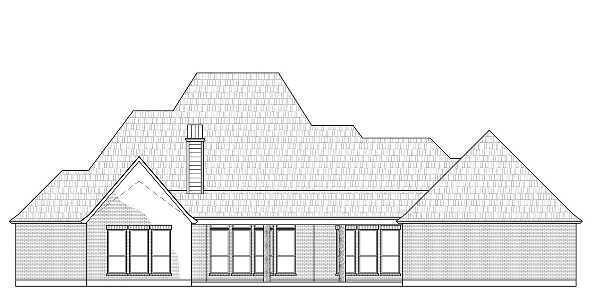 Acadian, European, Traditional House Plan 41403 with 4 Beds, 3 Baths, 3 Car Garage Rear Elevation