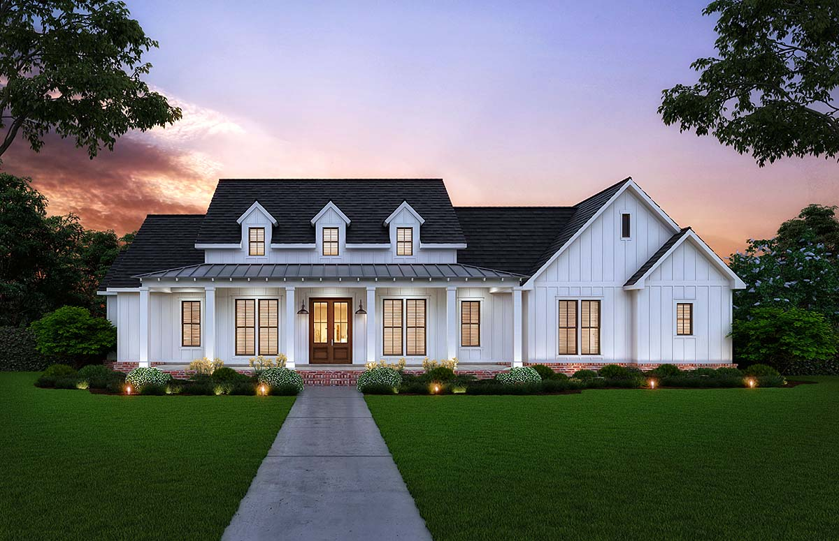 Country, Farmhouse, Southern House Plan 41409 with 3 Beds, 3 Baths, 2 Car Garage Elevation