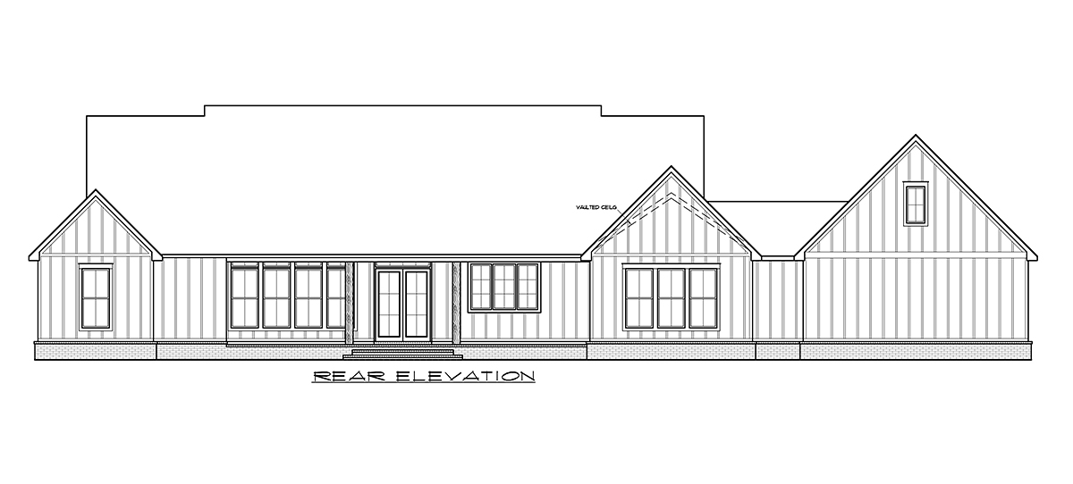 Country Farmhouse Traditional Rear Elevation of Plan 41412