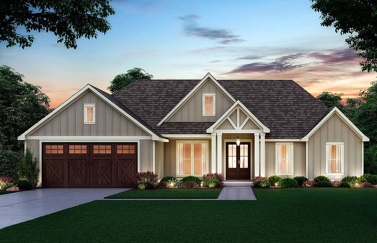 Craftsman, Farmhouse House Plan 41416 with 4 Beds, 2 Baths, 2 Car Garage Elevation