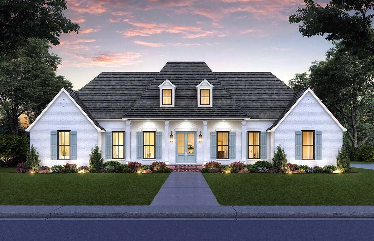 Colonial, Country, Southern House Plan 41417 with 4 Beds, 4 Baths, 2 Car Garage Elevation