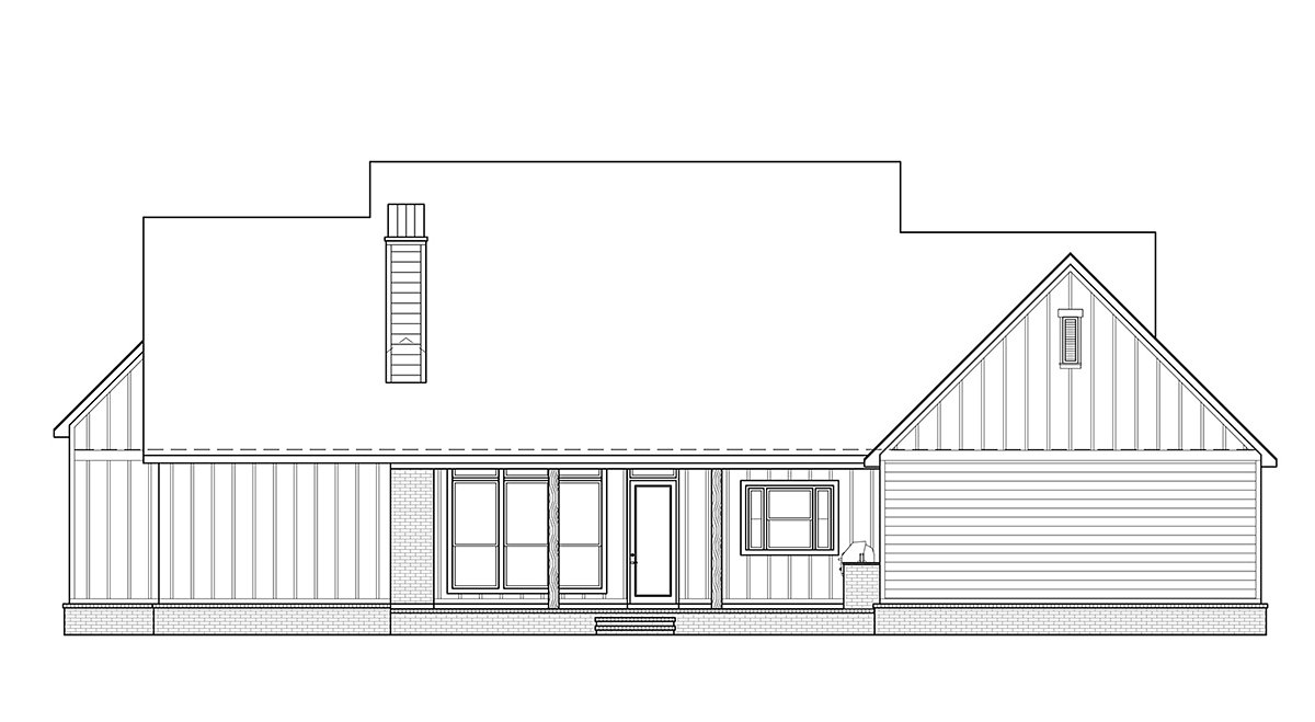 Country Farmhouse Rear Elevation of Plan 41418