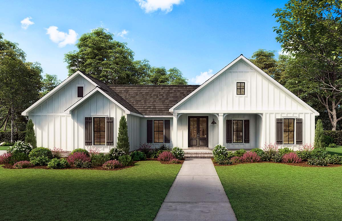 Country, Farmhouse House Plan 41421 with 3 Beds, 2 Baths, 2 Car Garage Picture 1