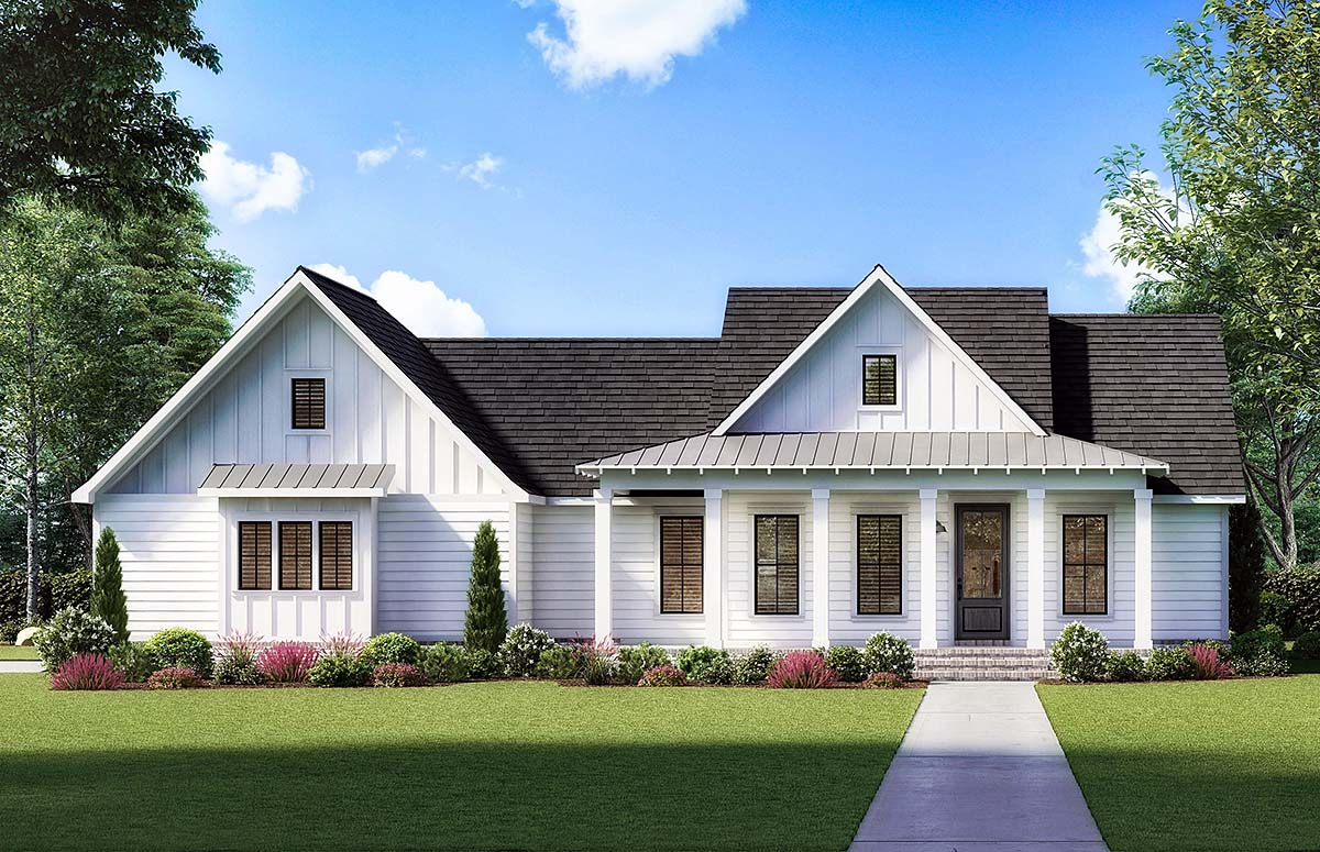 Country, Farmhouse, Southern House Plan 41422 with 3 Beds, 2 Baths, 2 Car Garage Elevation