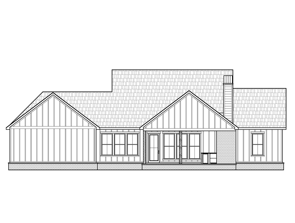 Country Farmhouse Southern Rear Elevation of Plan 41424