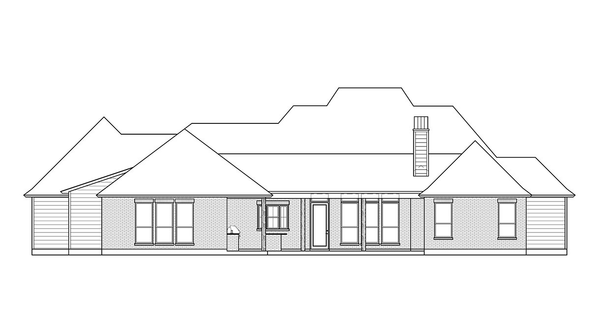 Acadian, French Country House Plan 41425 with 4 Beds, 3 Baths, 3 Car Garage Rear Elevation