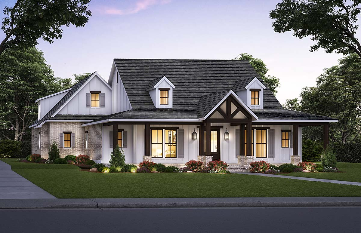 Country, Farmhouse House Plan 41426 with 4 Beds, 4 Baths, 2 Car Garage Elevation