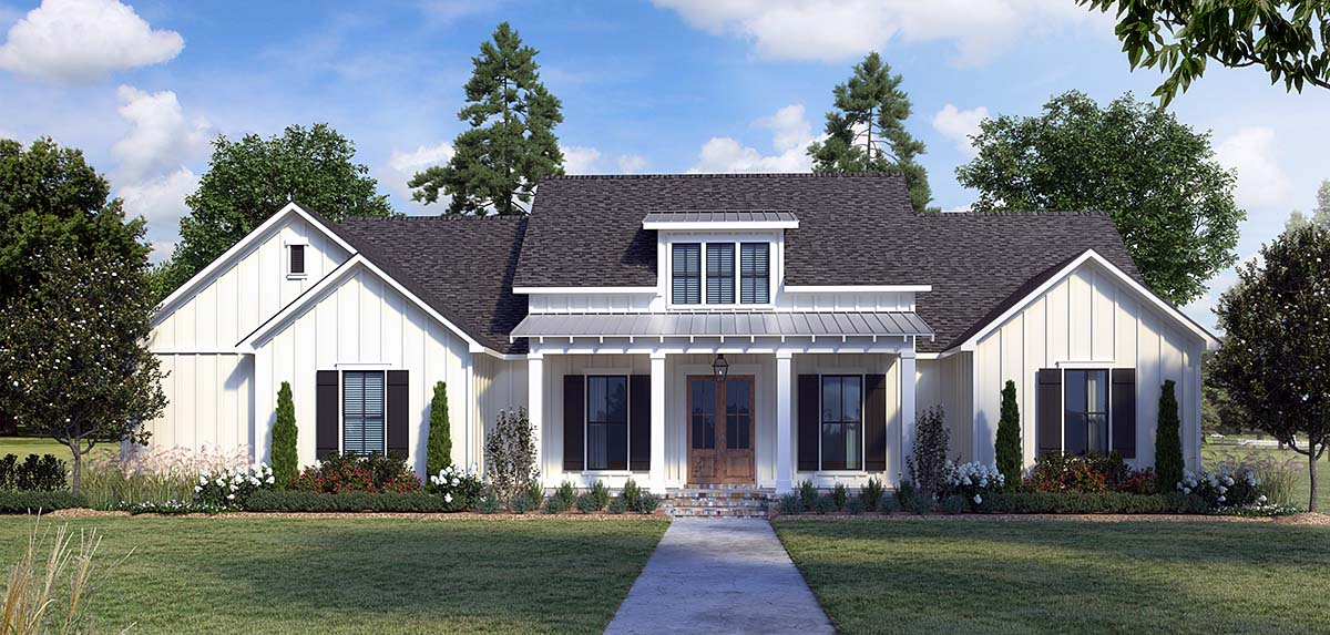 Country, Farmhouse House Plan 41429 with 4 Beds, 3 Baths, 2 Car Garage Elevation