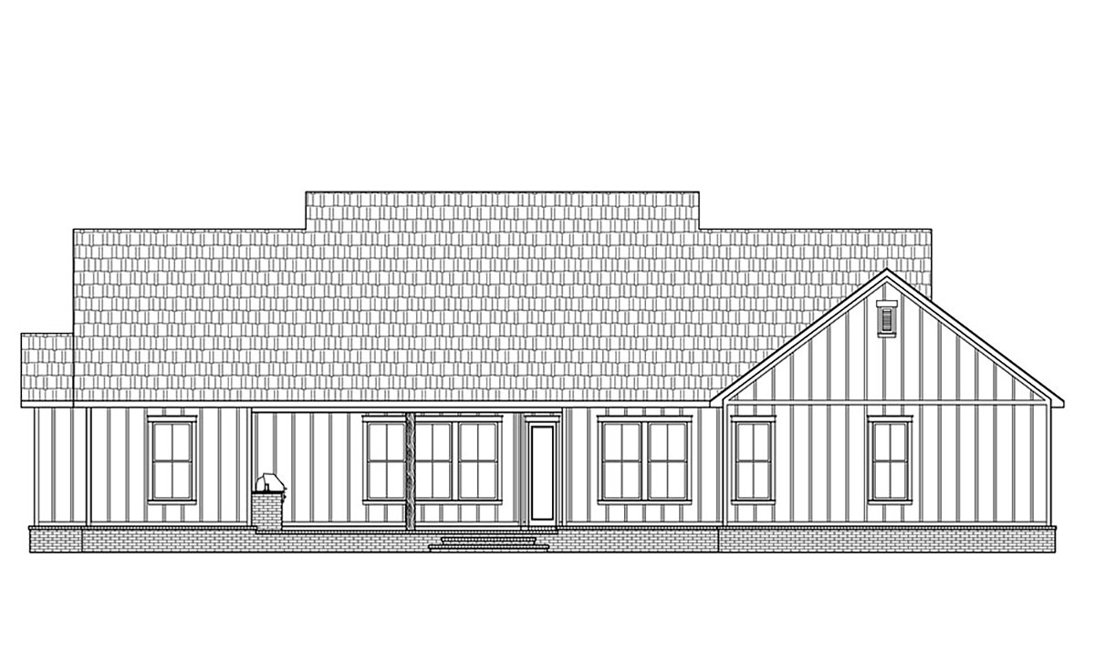 Country, Farmhouse House Plan 41429 with 4 Beds, 3 Baths, 2 Car Garage Rear Elevation