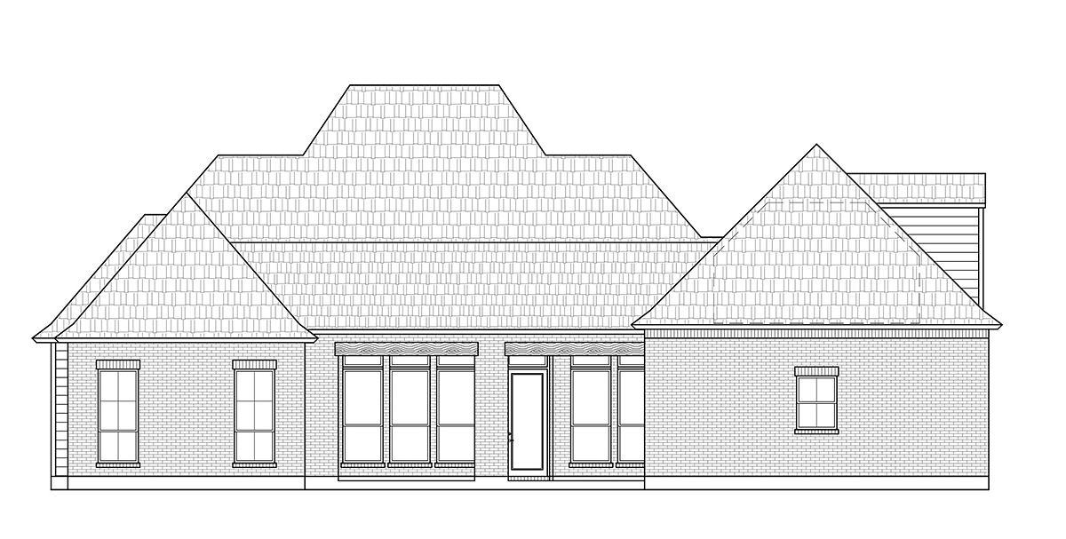 Acadian French Country Southern Rear Elevation of Plan 41431