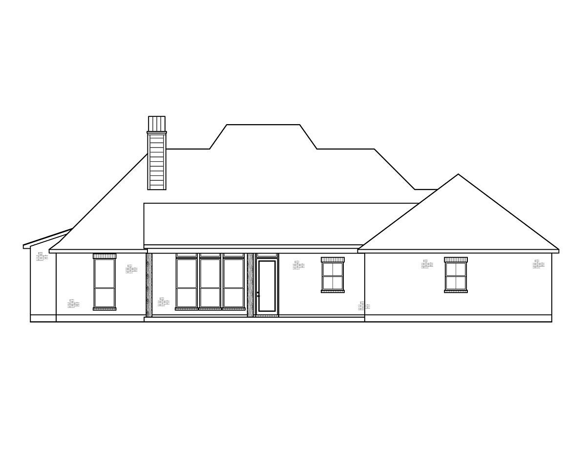 Acadian, French Country, Southern House Plan 41432 with 4 Beds, 3 Baths, 2 Car Garage Rear Elevation