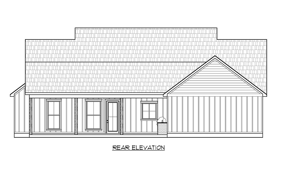 Country, Craftsman, Farmhouse House Plan 41438 with 3 Beds, 3 Baths, 2 Car Garage Rear Elevation