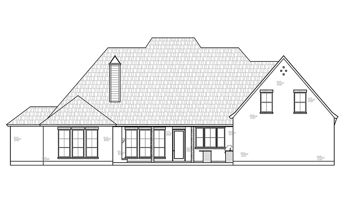 Acadian European French Country Rear Elevation of Plan 41440