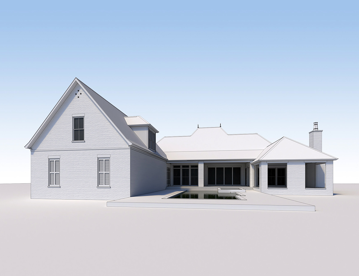 Acadian French Country Southern Rear Elevation of Plan 41441