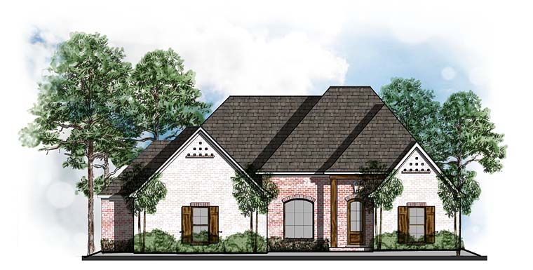 Country, European, Southern House Plan 41551 with 4 Beds, 3 Baths, 3 Car Garage Elevation