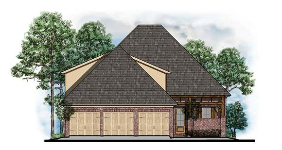 European, Southern, Traditional House Plan 41558 with 3 Beds, 3 Baths, 3 Car Garage Elevation