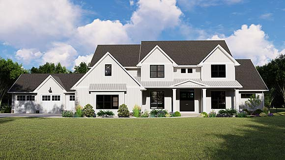 Cottage, Country, Craftsman House Plan 41812 with 4 Beds, 5 Baths, 3 Car Garage Elevation