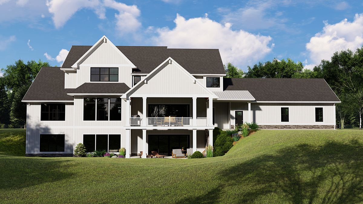 Cottage, Country, Craftsman House Plan 41812 with 4 Beds, 5 Baths, 3 Car Garage Rear Elevation
