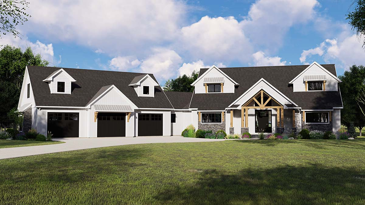 Country, Craftsman, Farmhouse House Plan 41813 with 3 Beds, 4 Baths, 3 Car Garage Elevation