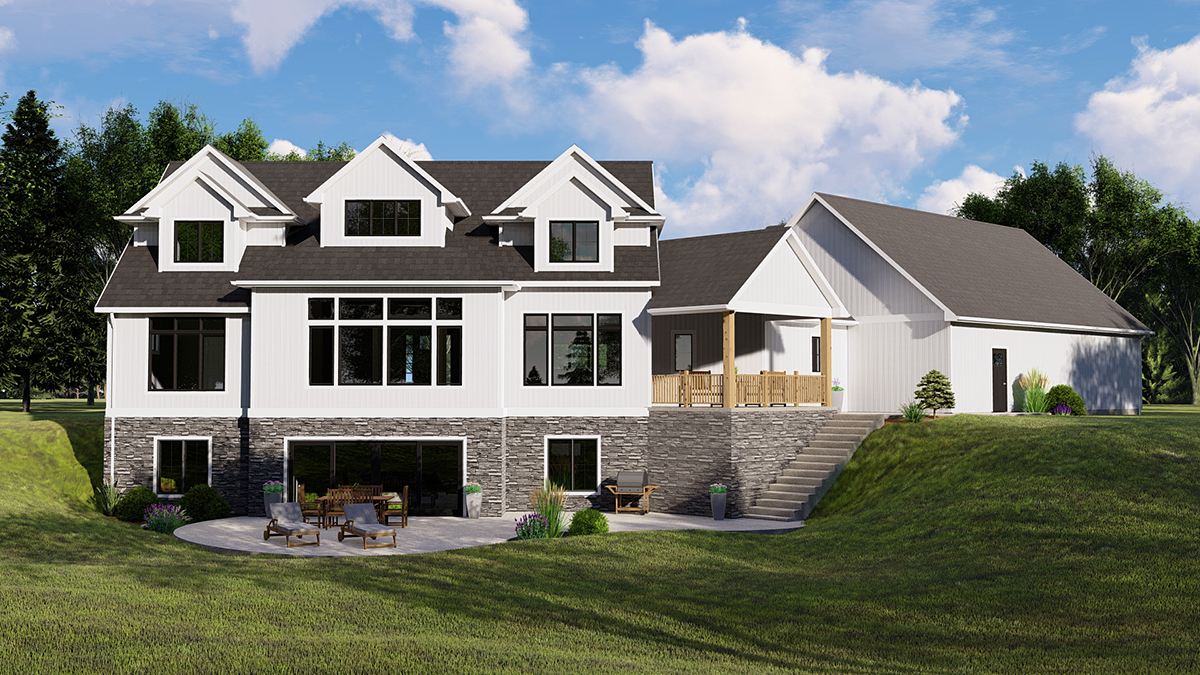 Country, Craftsman, Farmhouse House Plan 41813 with 3 Beds, 4 Baths, 3 Car Garage Rear Elevation