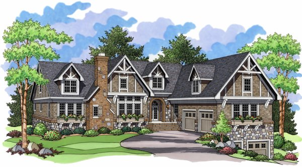 European Ranch Traditional House Plan 42002 Elevation