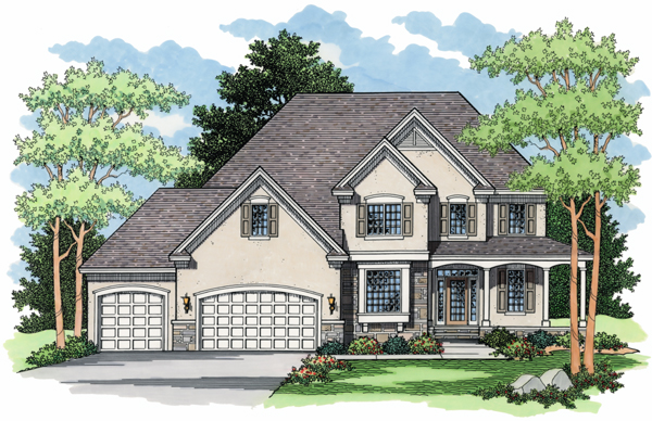 Colonial, European, Traditional House Plan 42006 with 4 Beds, 3 Baths, 3 Car Garage Elevation