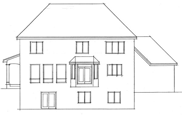 Colonial, European, Traditional House Plan 42006 with 4 Beds, 3 Baths, 3 Car Garage Rear Elevation