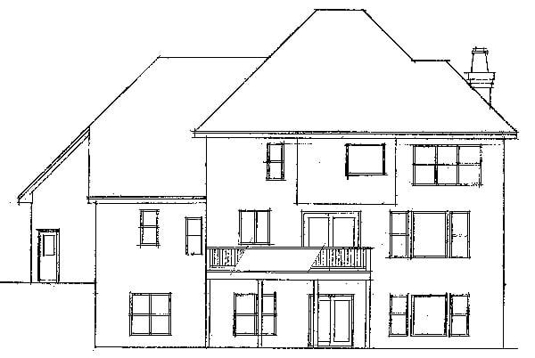 European Traditional House Plan 42007 Rear Elevation