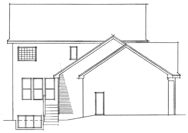 Colonial European Traditional House Plan 42010 Rear Elevation