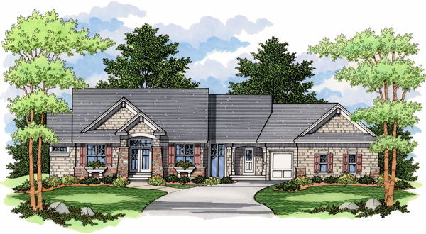 European, One-Story, Ranch, Traditional House Plan 42012 with 4 Beds, 3 Baths, 3 Car Garage Elevation