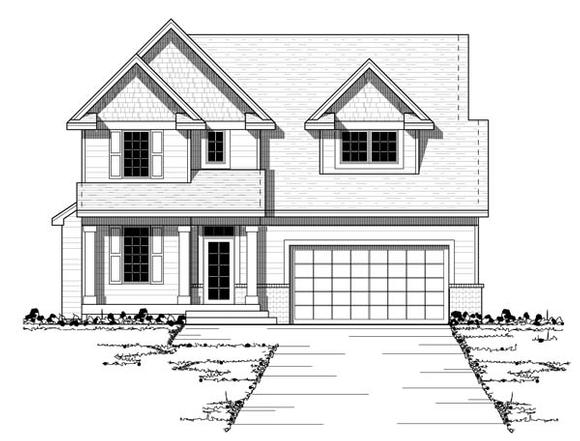 Craftsman, European, Narrow Lot, Traditional House Plan 42053 with 3 Beds, 3 Baths, 2 Car Garage Elevation