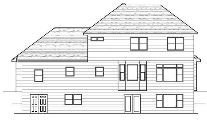 Colonial European Traditional House Plan 42059 Rear Elevation
