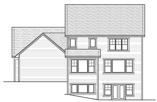 Colonial European Traditional House Plan 42060 Rear Elevation