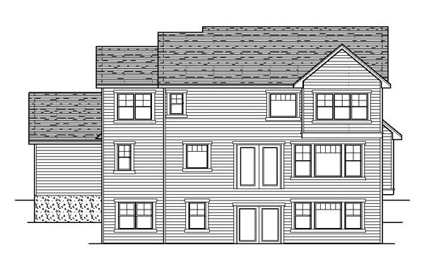 Craftsman European Traditional House Plan 42061 Rear Elevation