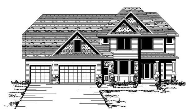 Craftsman European Traditional House Plan 42072 Elevation