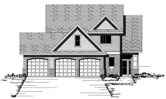 European, Traditional House Plan 42081 with 3 Beds, 3 Baths, 3 Car Garage Elevation
