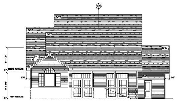 European Traditional House Plan 42081 Rear Elevation