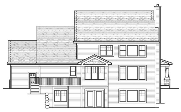 Colonial Craftsman European Traditional Rear Elevation of Plan 42119