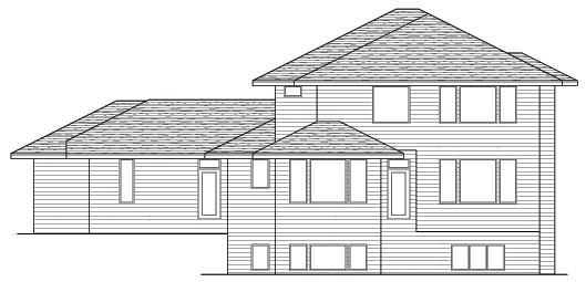 Prairie Style , Southwest House Plan 42130 with 3 Beds, 3 Baths, 3 Car Garage Rear Elevation
