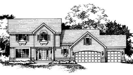 Traditional House Plan 42134 with 3 Beds, 3 Baths, 3 Car Garage Elevation
