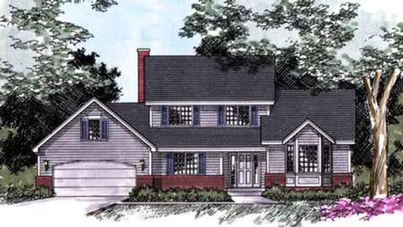 Traditional House Plan 42136 with 3 Beds, 3 Baths, 2 Car Garage Elevation