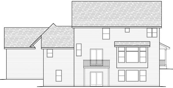 Traditional House Plan 42456 with 2 Beds, 3 Baths, 3 Car Garage Rear Elevation