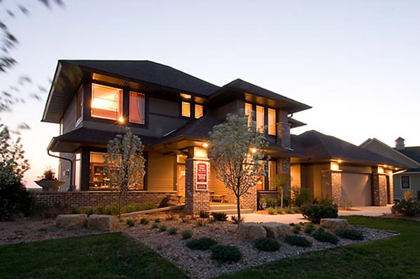 Contemporary craftsman prairie style southwest house plan for Prairie style house plans