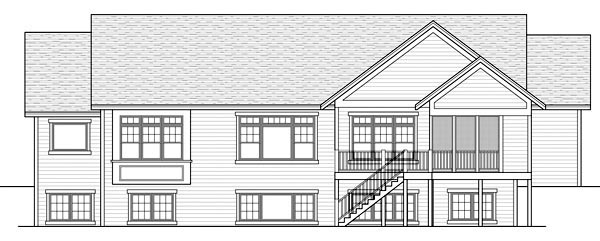 Rear Elevation of Craftsman   Traditional   House Plan 42505