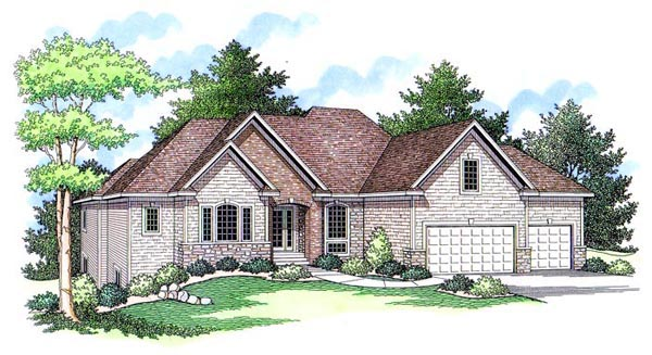 European Ranch Traditional House Plan 42508