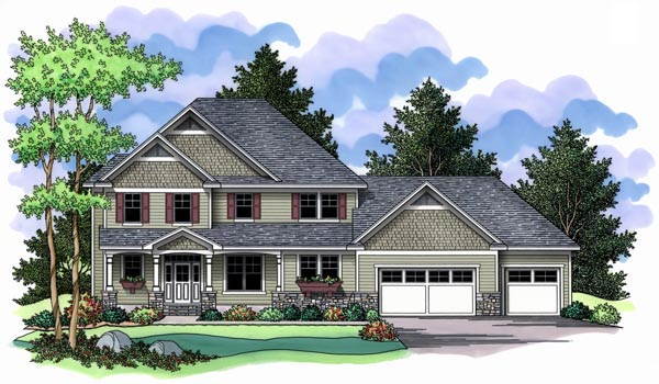 Farmhouse, Traditional House Plan 42511 with 3 Beds, 3 Baths, 3 Car Garage Elevation