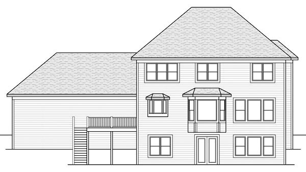Farmhouse, Traditional House Plan 42511 with 3 Beds, 3 Baths, 3 Car Garage Rear Elevation